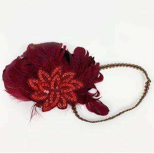 Flapper Headband Feather Sequin Red Maroon 1920s